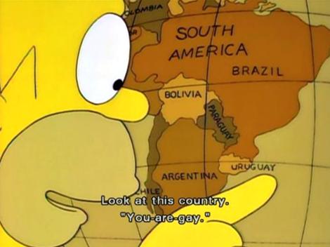 Homero Simpson es una persona culta, que sabe dónde queda Uruguay en el mapa. Pero la mayoría de las personas de este mundo, fallaría en el intento.