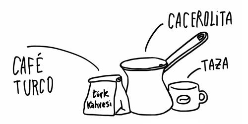 café turco, cacerola y taza