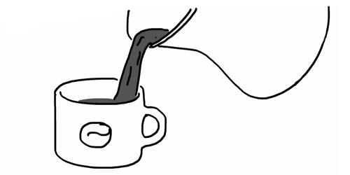 café vertido en la taza