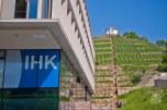 Un viñedo sobre la montaña, atrás de un edificio de oficinas.