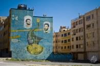 Mural pintado en uno de los edificios de Shiraz